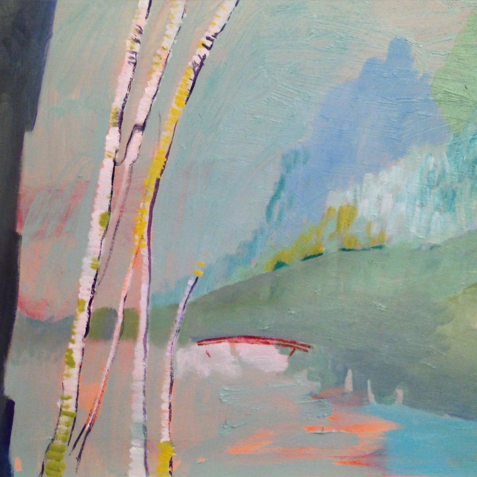 Celadon Walk, 2015 (detail) oil on panel 16x20""